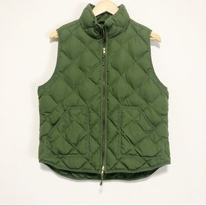J Crew Green Quilted Excursion Vest